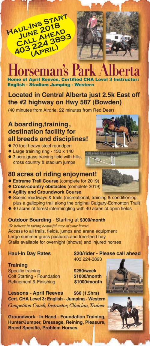 Horseman's Park Alberta Home of April Reeves Certified Level 3 English, Jumping and Western Instructor (US)