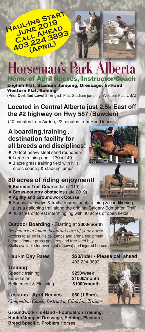 Horseman's Park Alberta - Home of April Reeves - Instructor, Coach, Clinician, Trainer